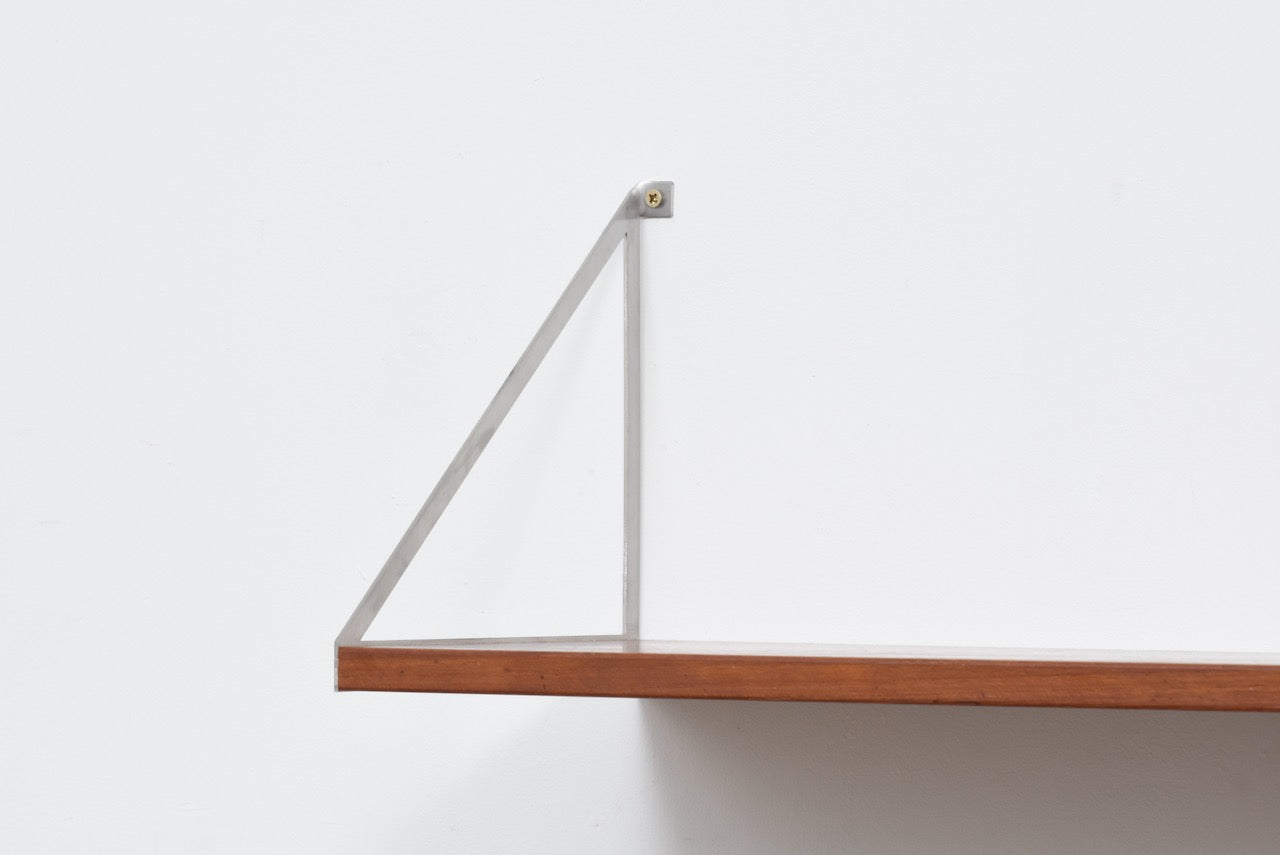 Two available: Teak floating shelf with metal brackets