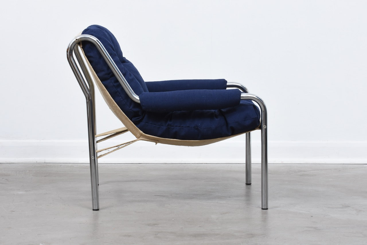 1970s metal-framed Swedish lounger