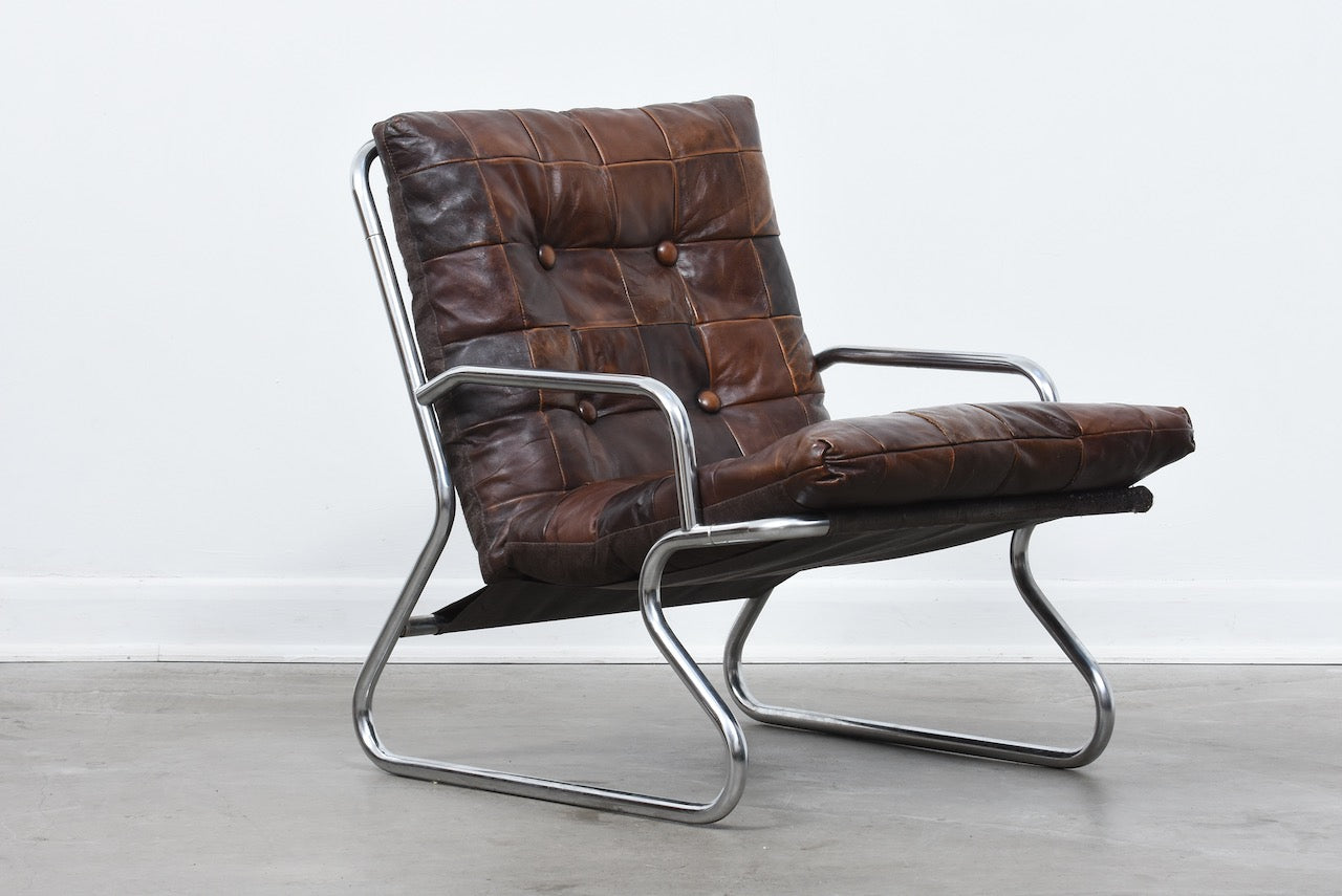 1970s metal + leather sling chair