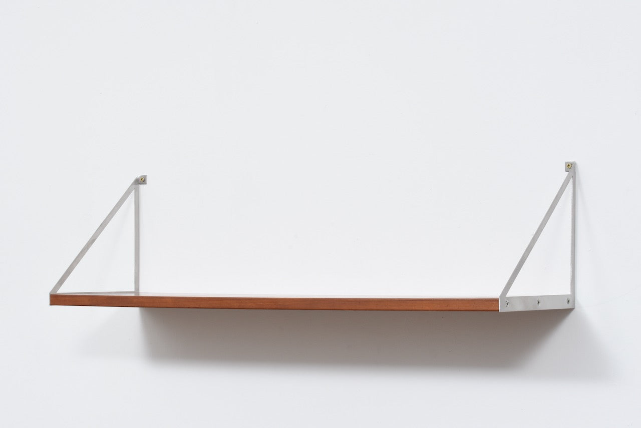 Two Available Teak Floating Shelf With Metal Brackets