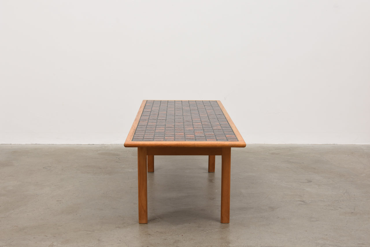 1970s tiled coffee table in oak
