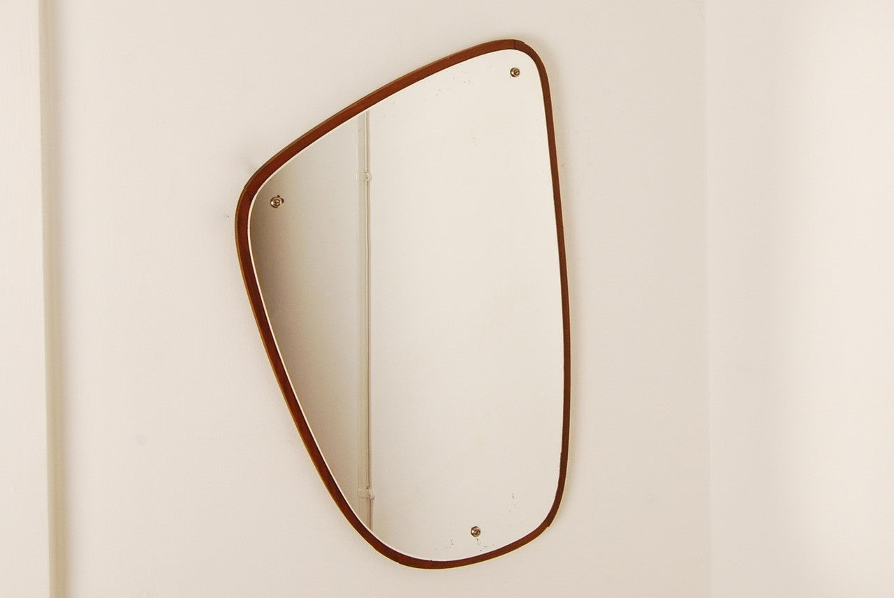 Oblong teak mirror