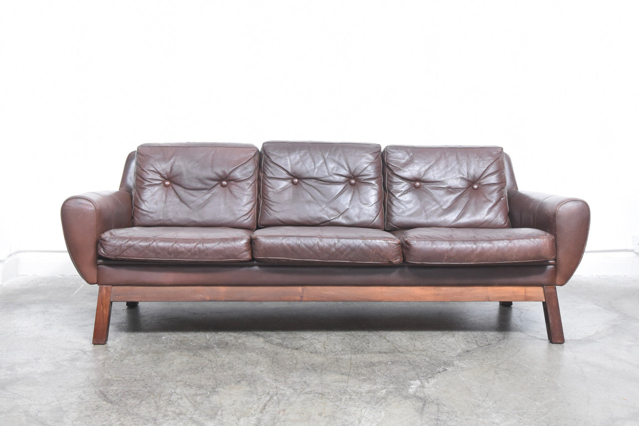 1960s leather sofa on rosewood base