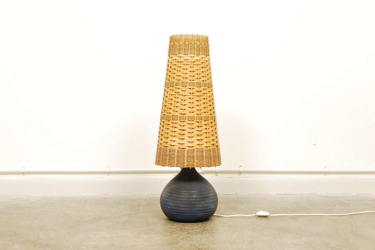 Swedish table lamp with wicker shade