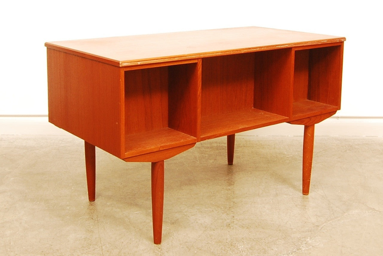 Teak desk with six drawers