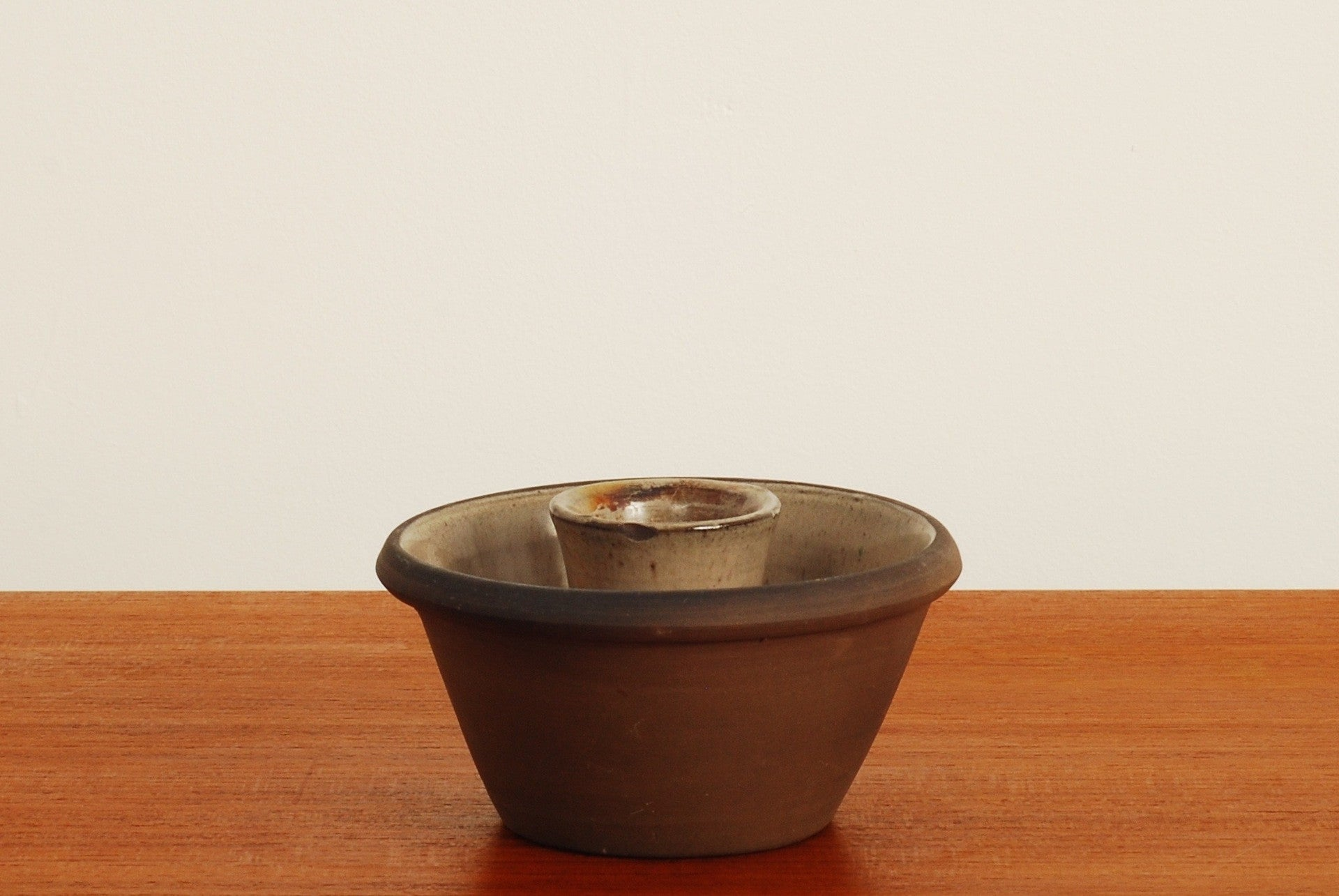 Stoneware candle holder by Ulla Lønow