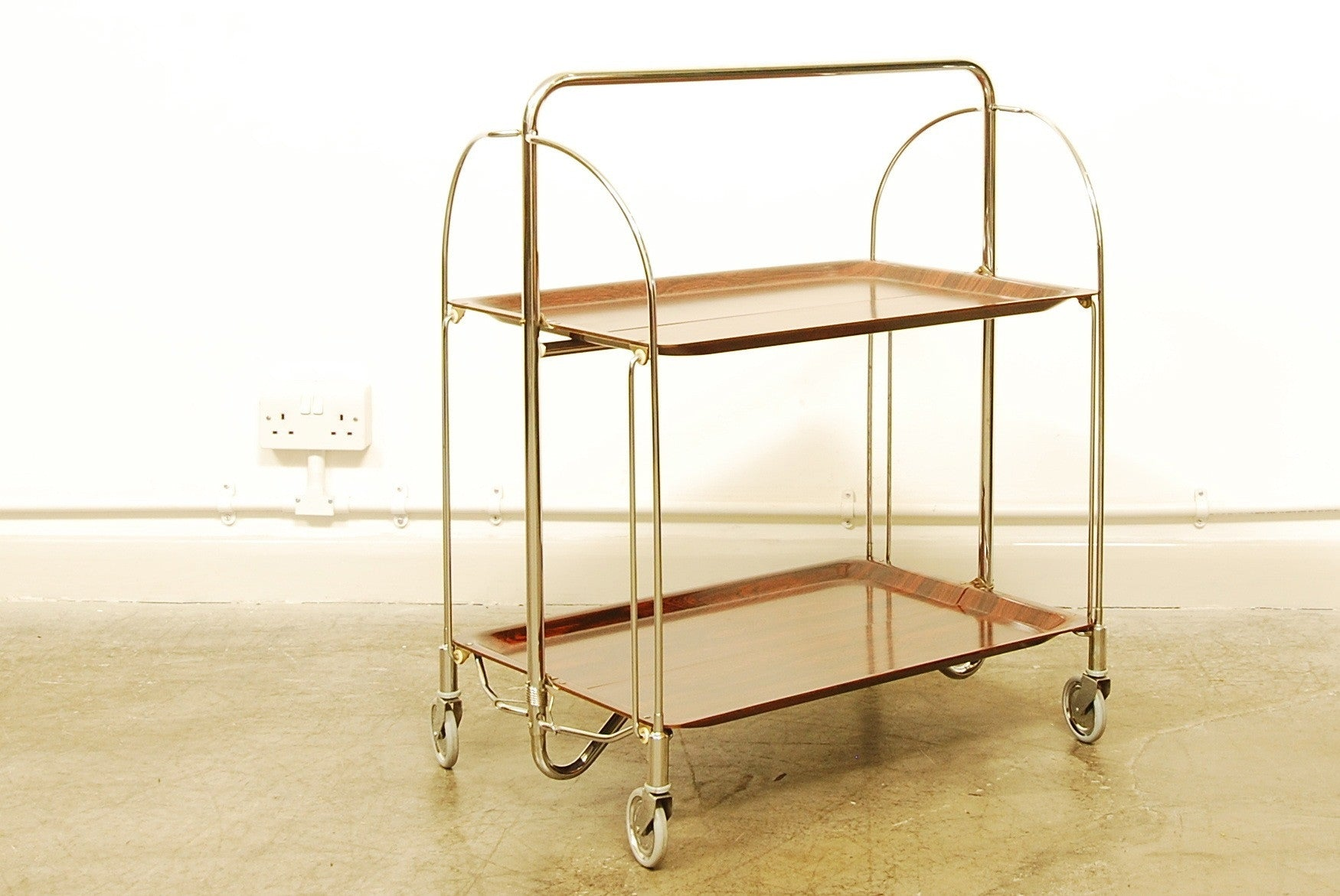 Folding rosewood tray trolley by Gerlinol