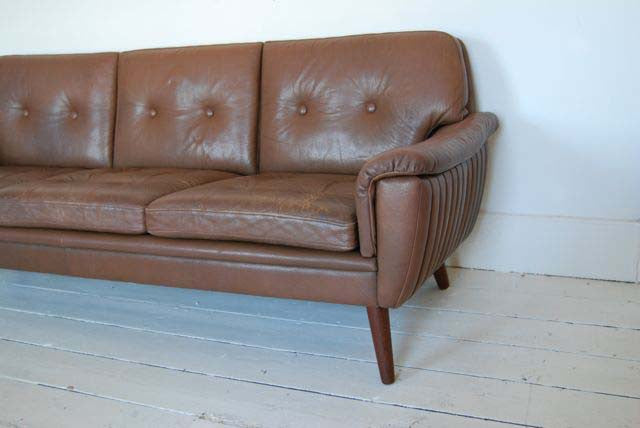 Chocolate three seater in leather