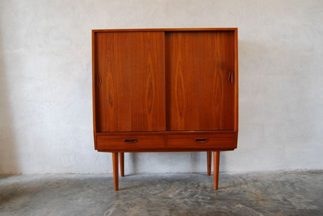 Highboard / converted vinyl storage cabinet in teak