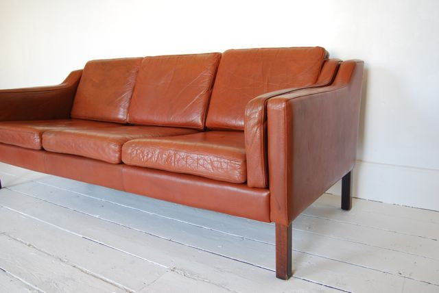 Chase & Sorensen Three seat leather sofa