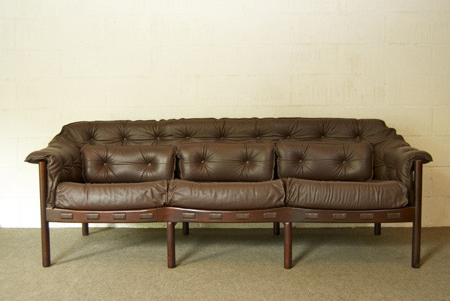 Three seat leather sofa in style of Arne Norell