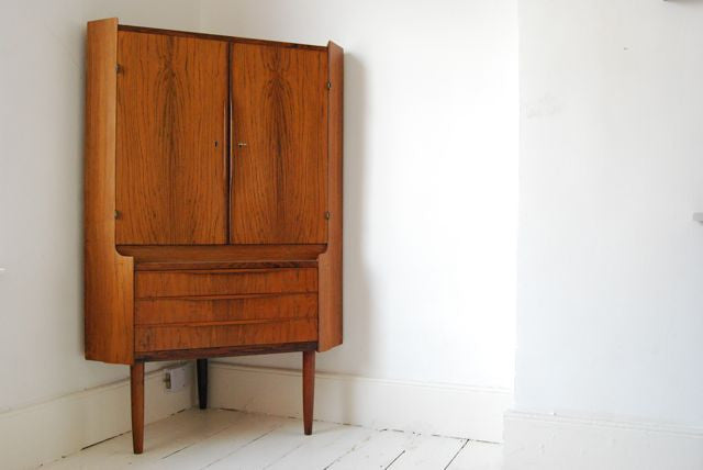 Rosewood and mahogany corner unit