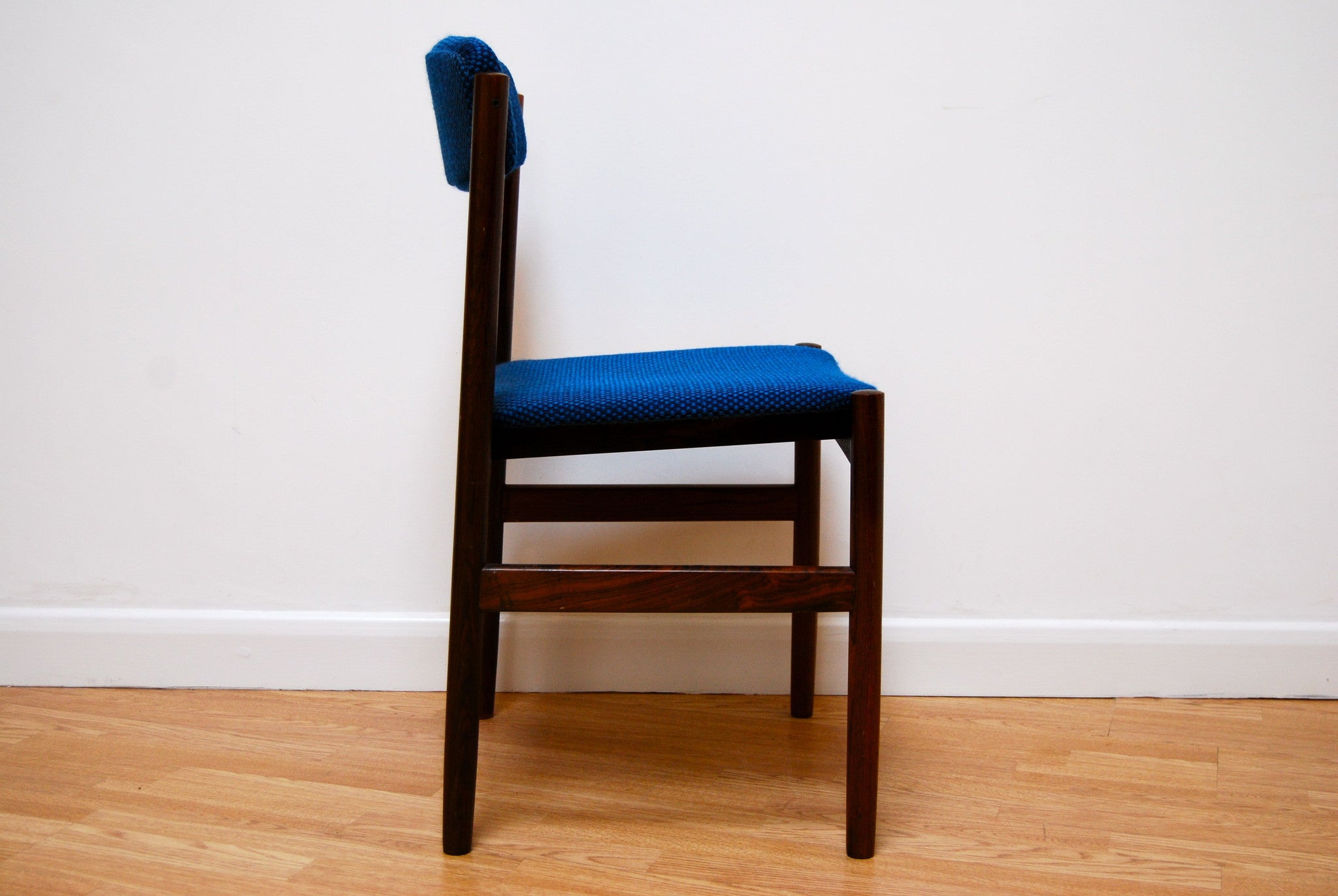 Set of four rosewood chairs with blue upholstery