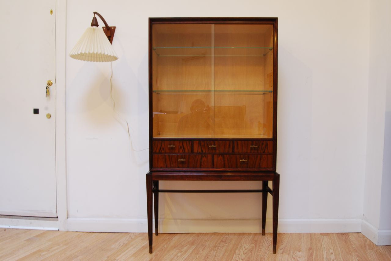 Rosewood/glass display cabinet