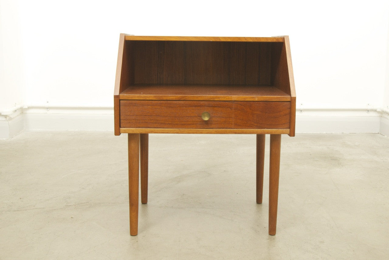 Teak bedside table with drawer