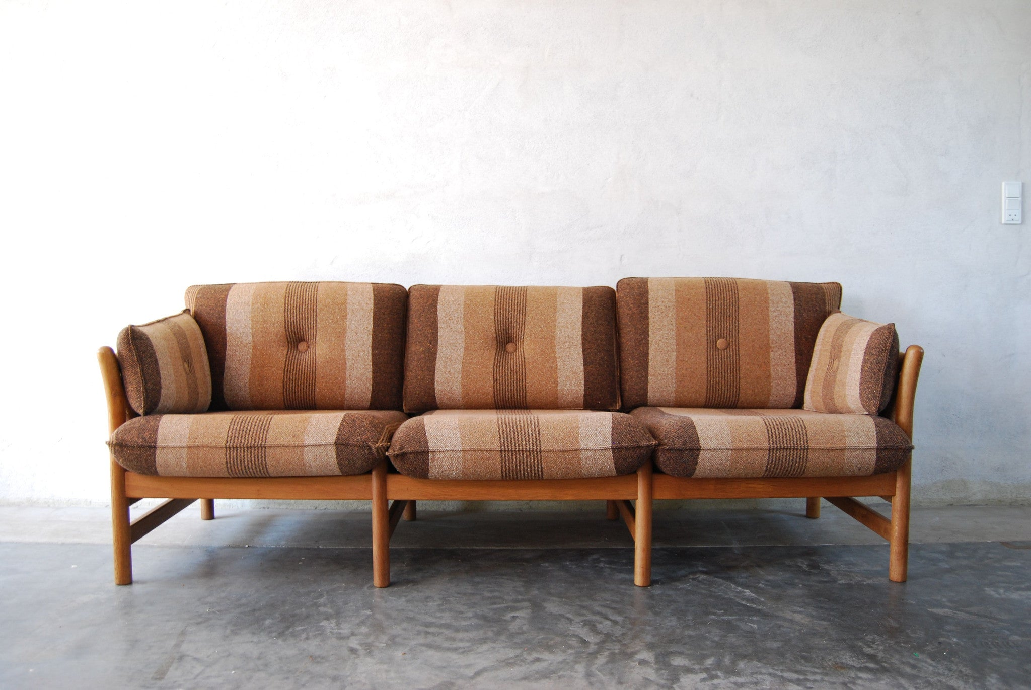 Three seat oak framed sofa