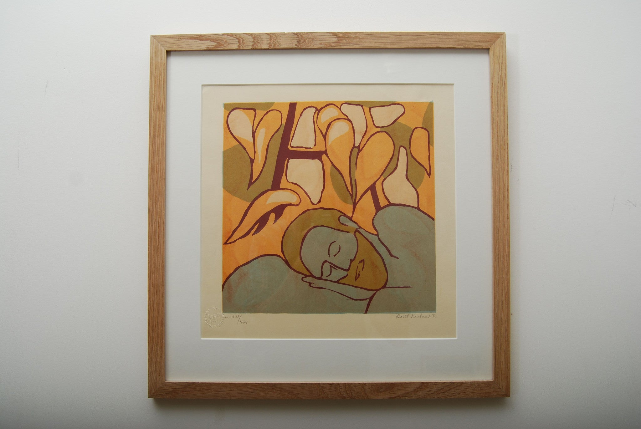 Framed lithographic print by Bodil Kaalund