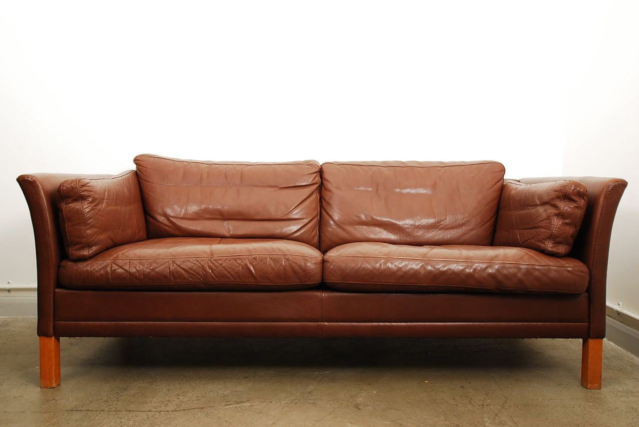 Two and a half seat leather sofa