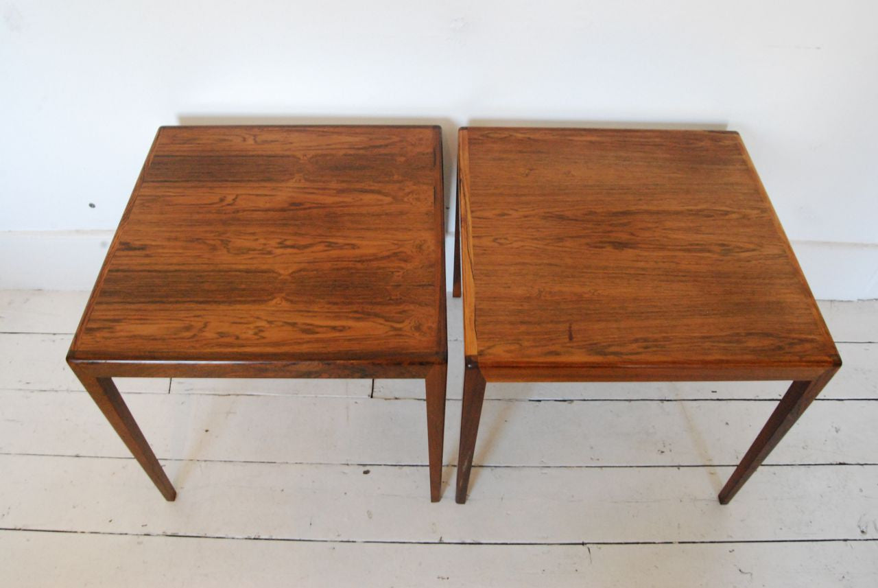 Pair of occasional tables in rosewood