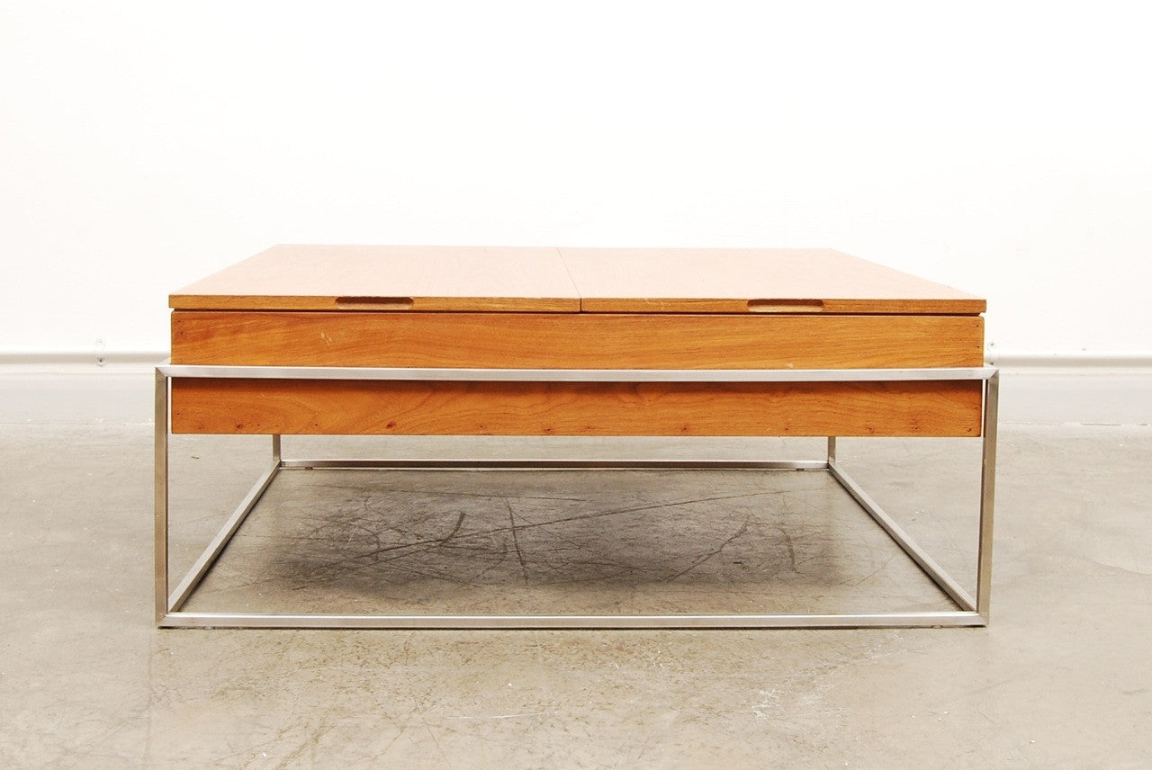 Teak coffee table on metal frame