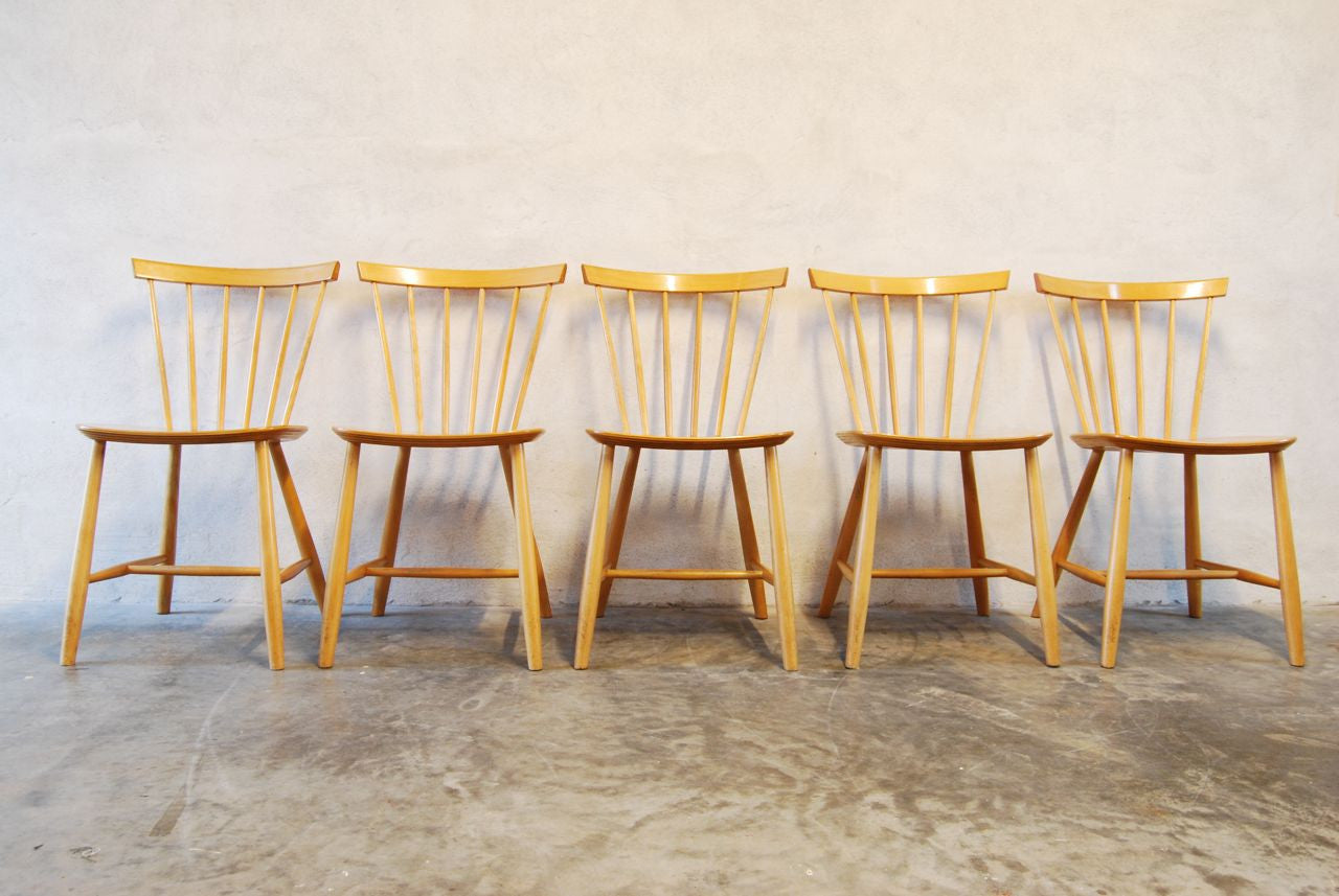 Set of five dining chairs by Poul Volther