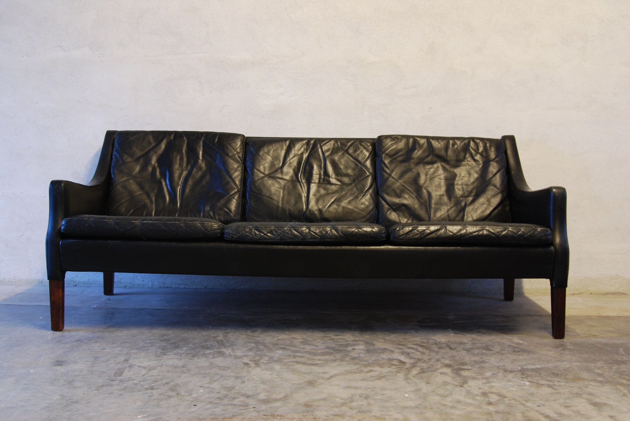 Chase & Sorensen Three seat sofa in jet black leather