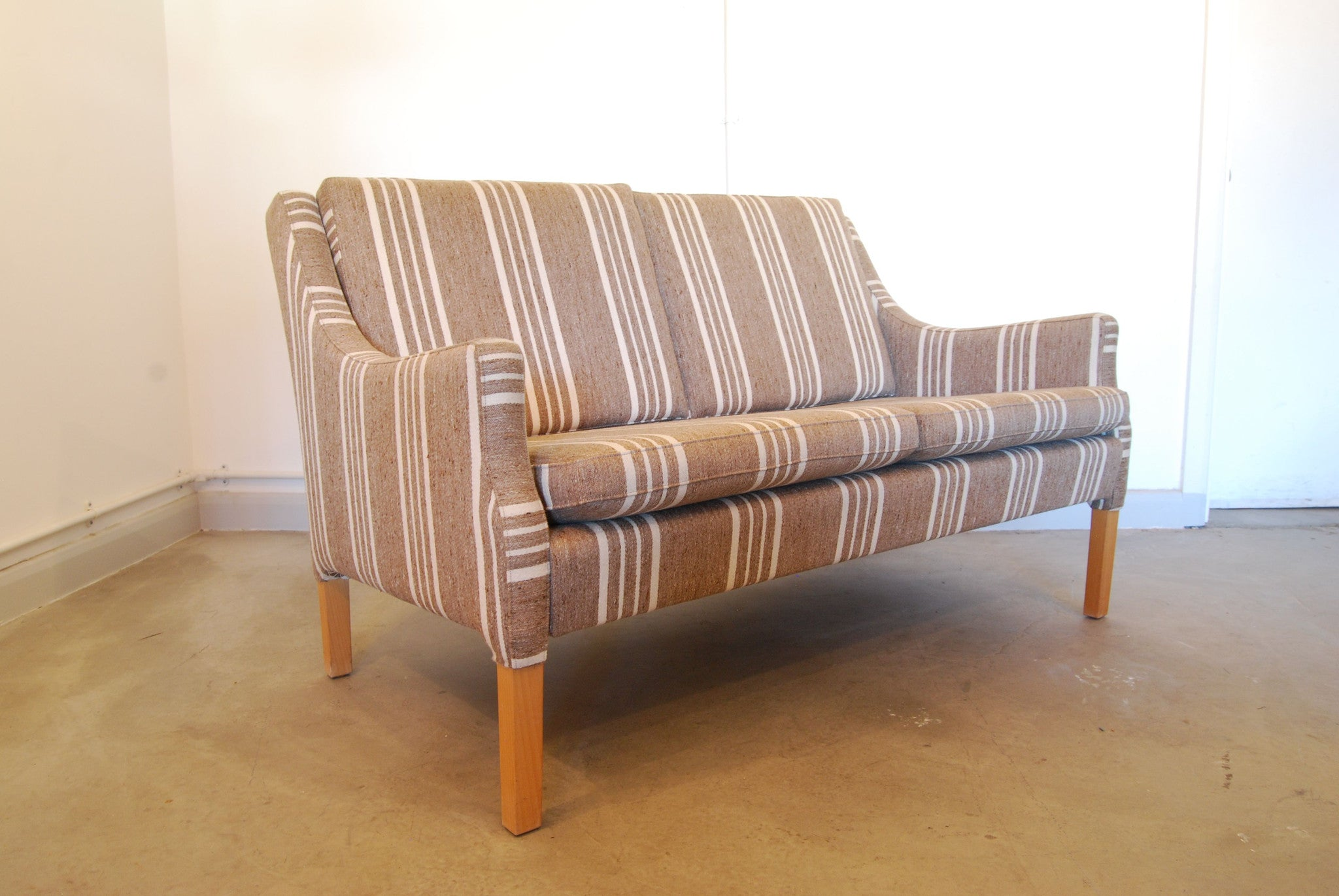 Chase & Sorensen Two seater in striped wool