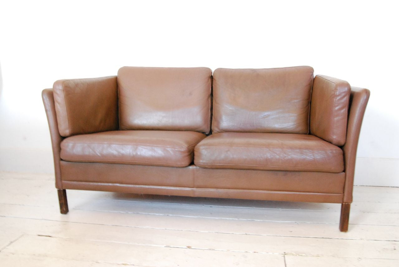 Two seat sofa in leather