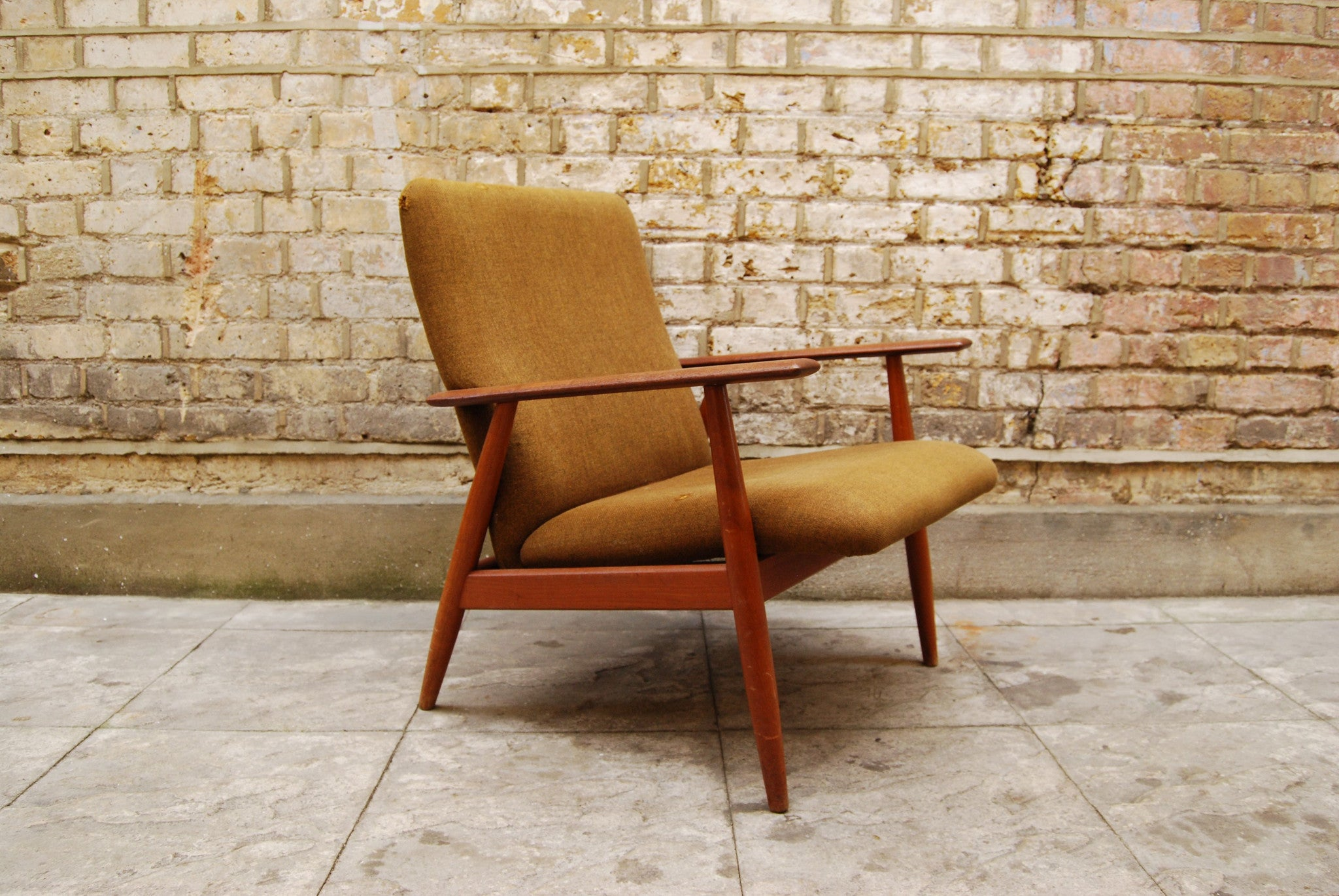 Teak and army wool lounge chair