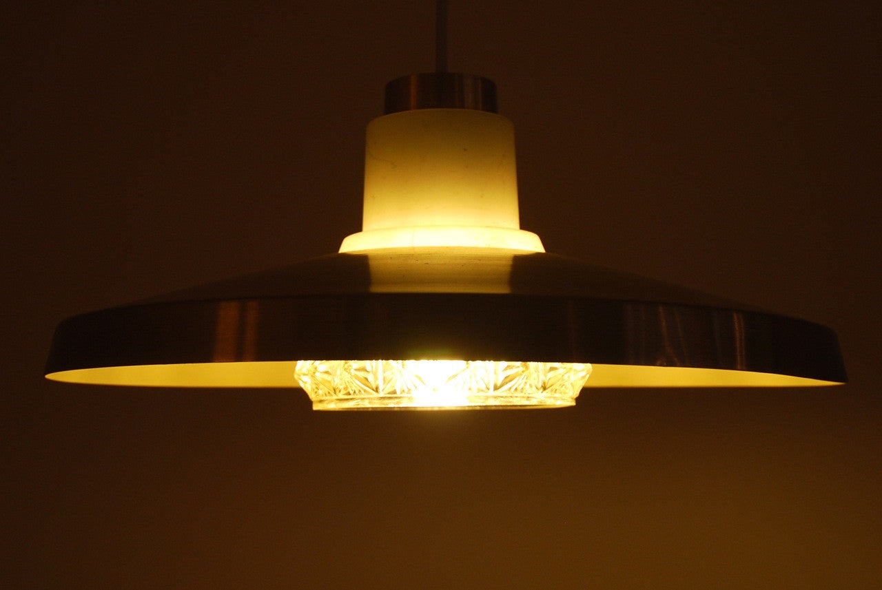 Glass and brass ceiling light
