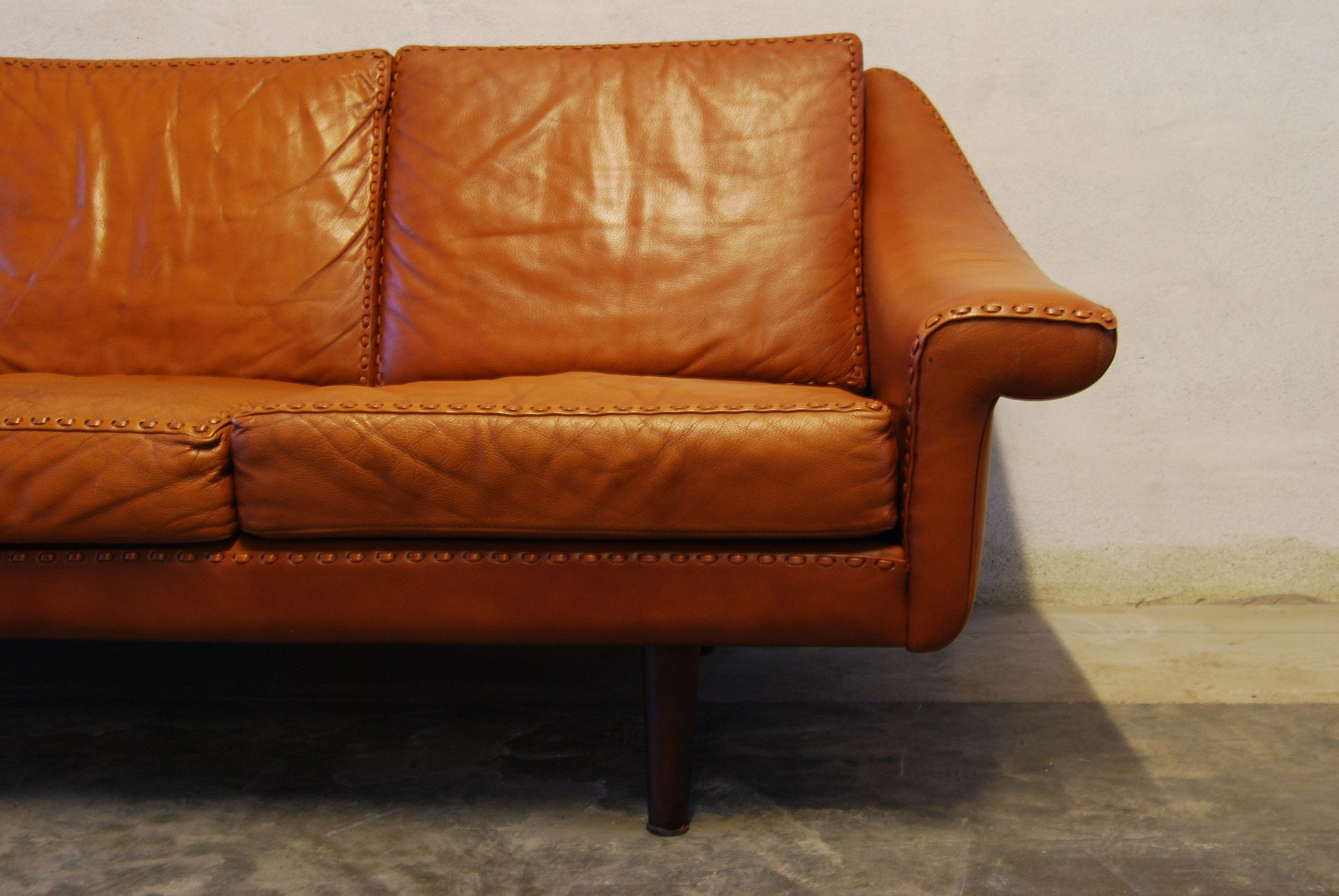 Chase & Sorensen 1970s three seat leather sofa