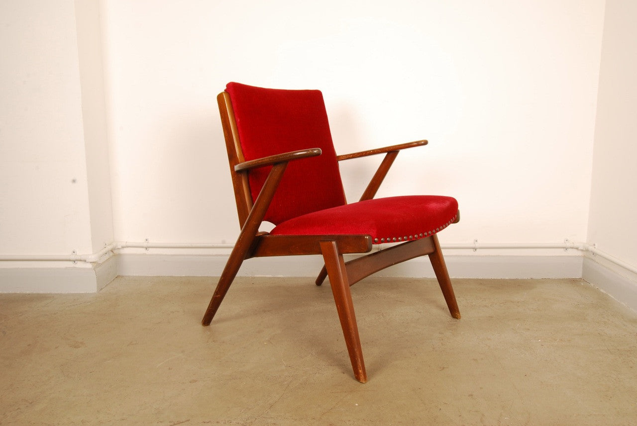 Stained beech armchair