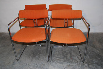 Set of Four Orange and Chrome Dining Chairs