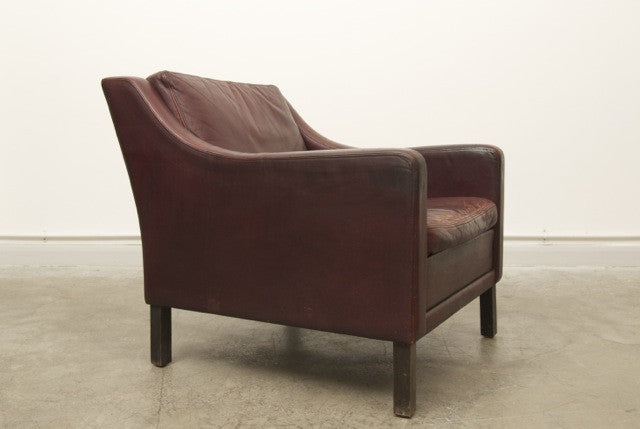 Maroon leather club chair