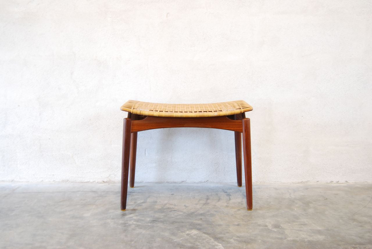 Foot stool with woven cane detail