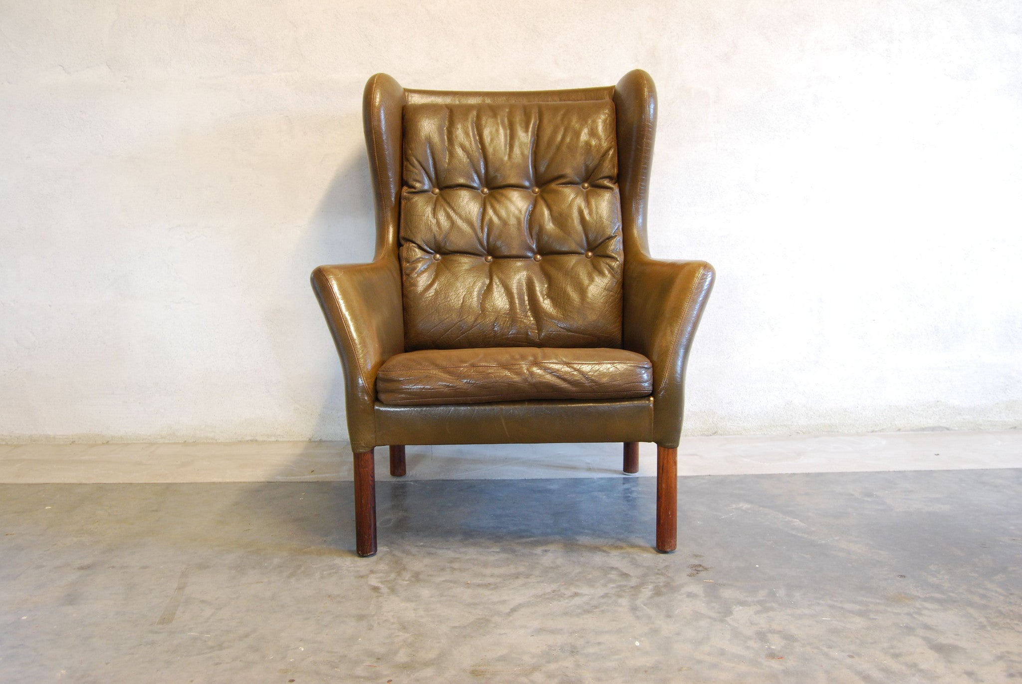 Wingback lounge chair in nougat