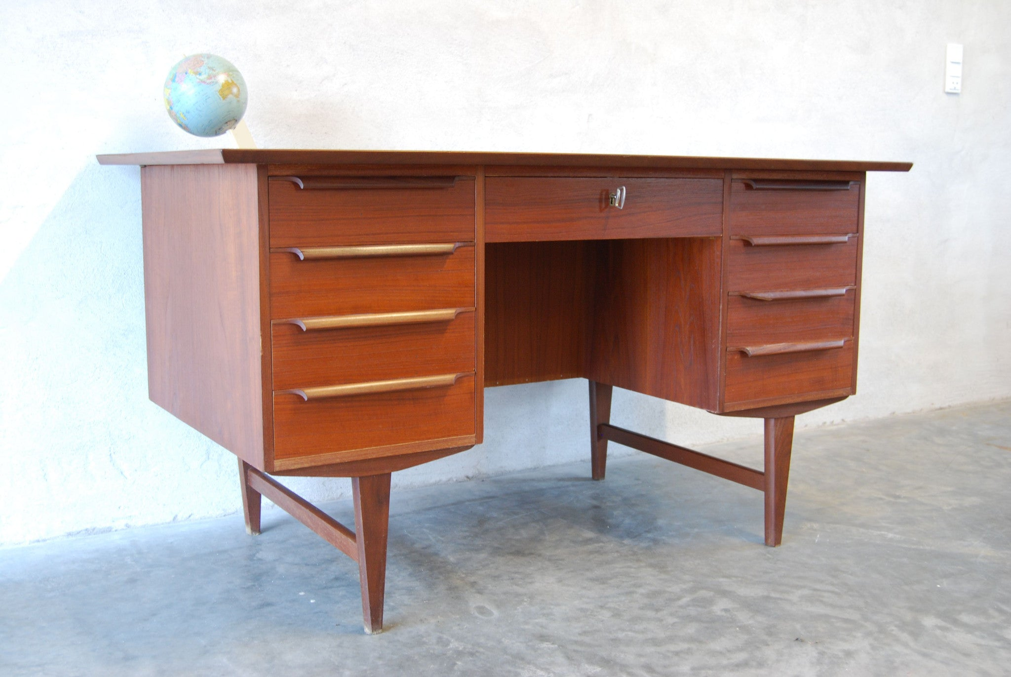 Chase & Sorensen Twin pedestal desk in teak