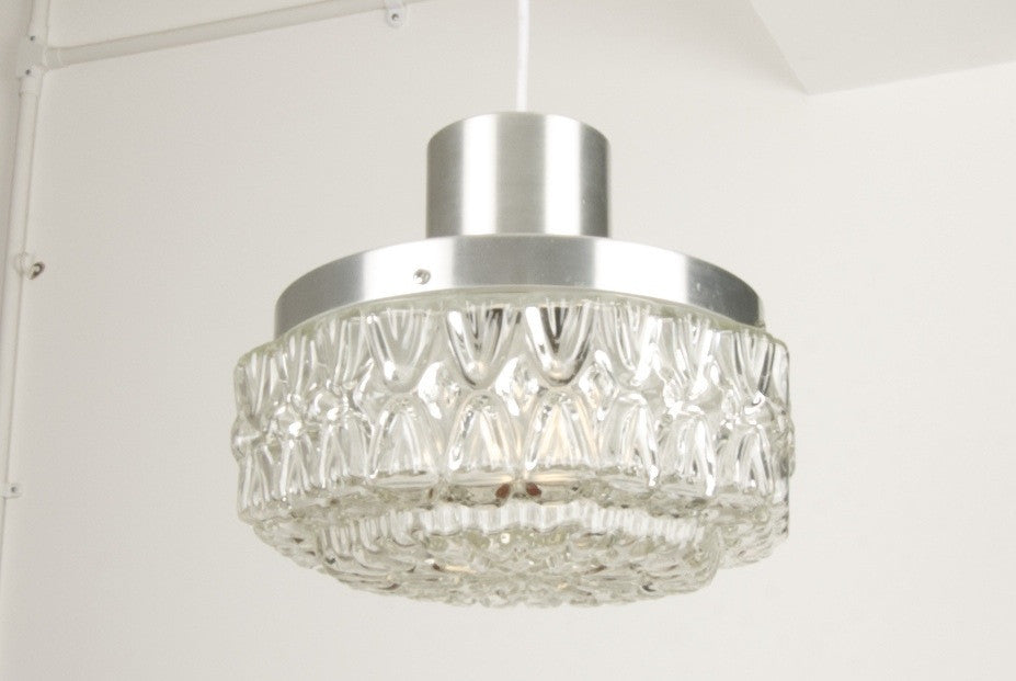 Glass / brushed chrome ceiling lamp