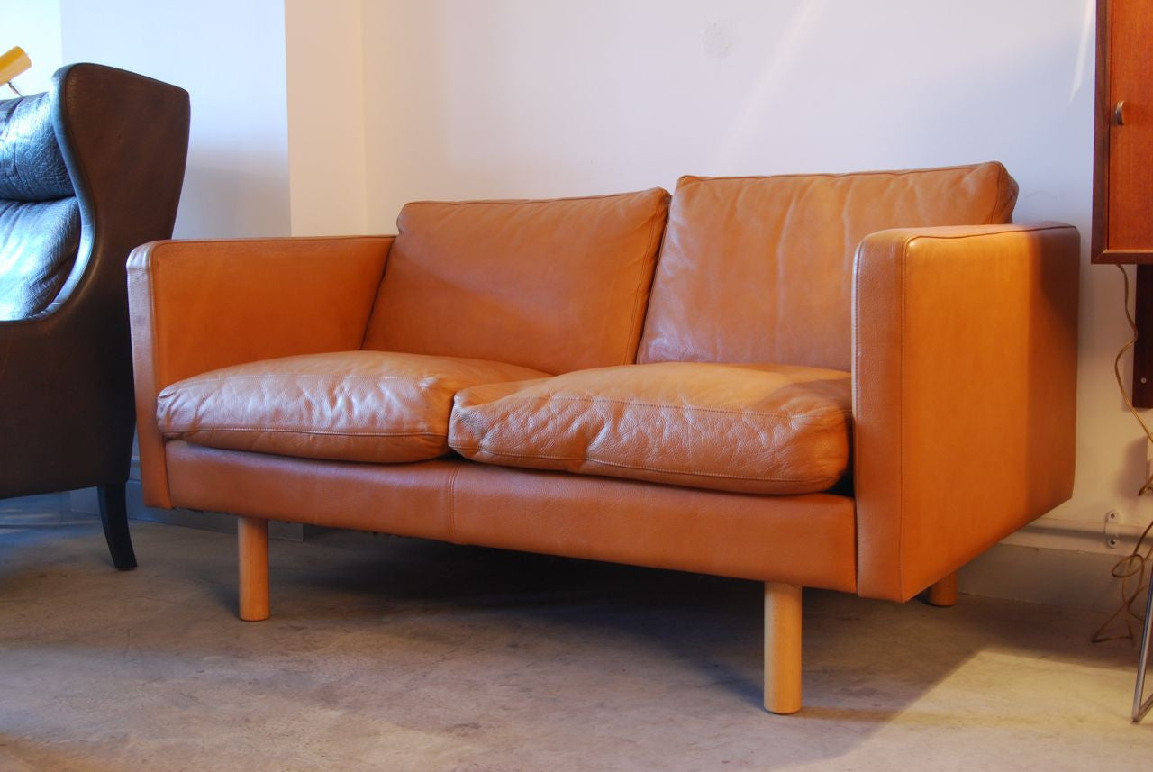 Two seat leather sofa by HJ