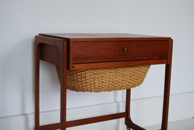 Teak sewing trolley