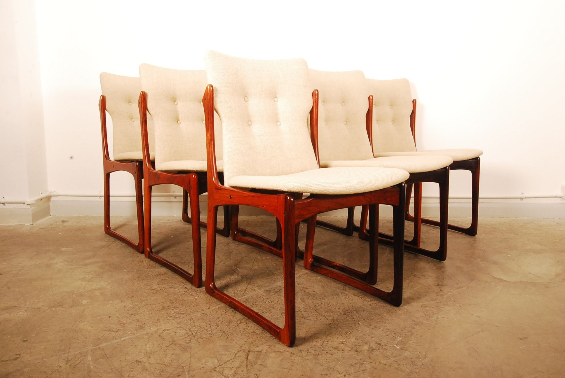 Set of six rosewood dining chairs