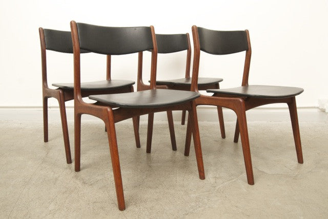 Set of four teak and skye dining chairs