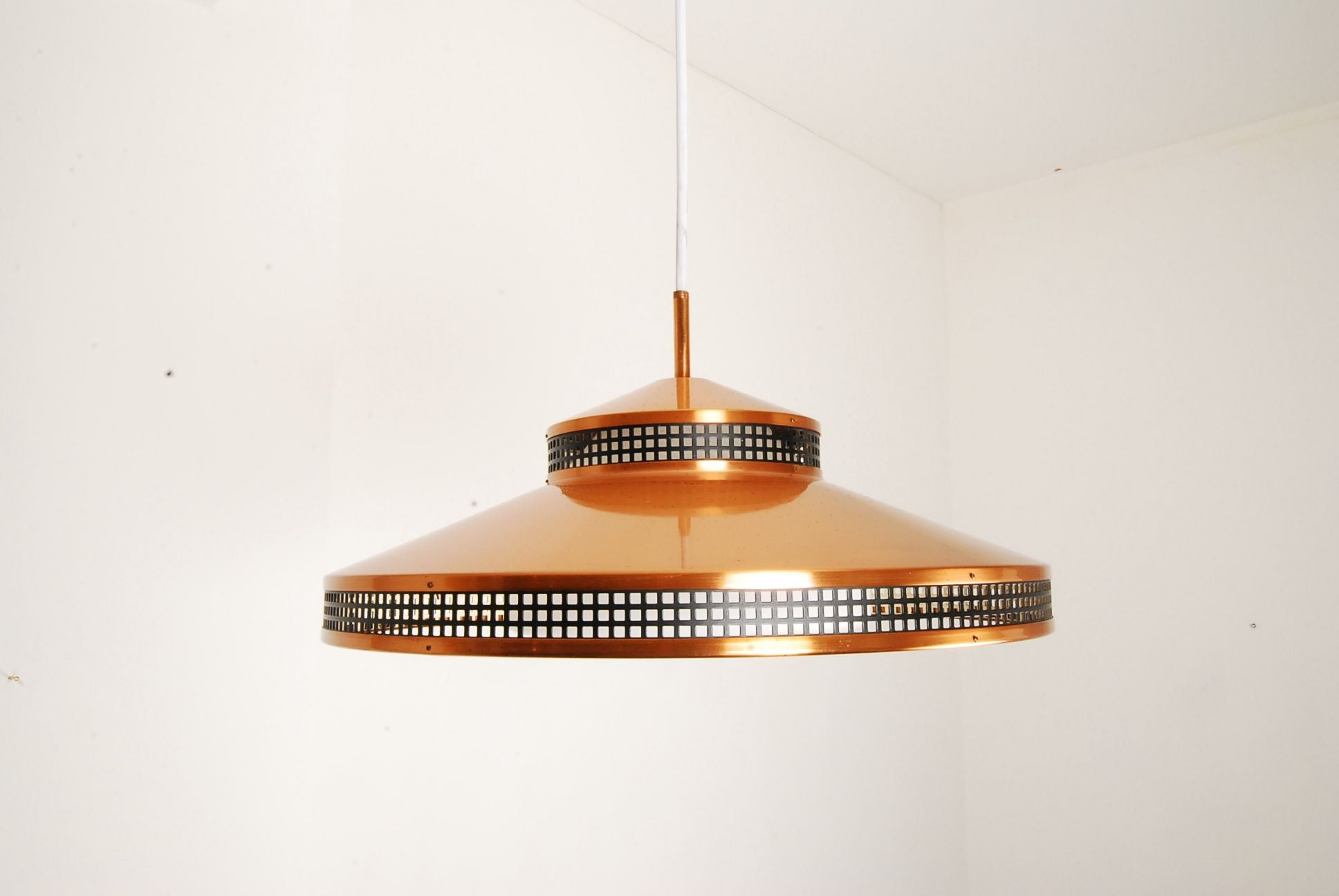Copper and glass ceiling lamp