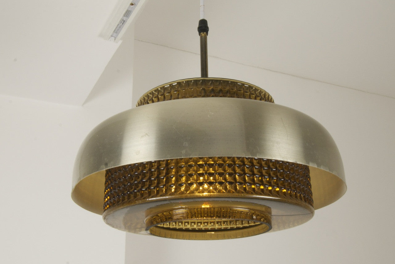 Brass / glass ceiling lamp
