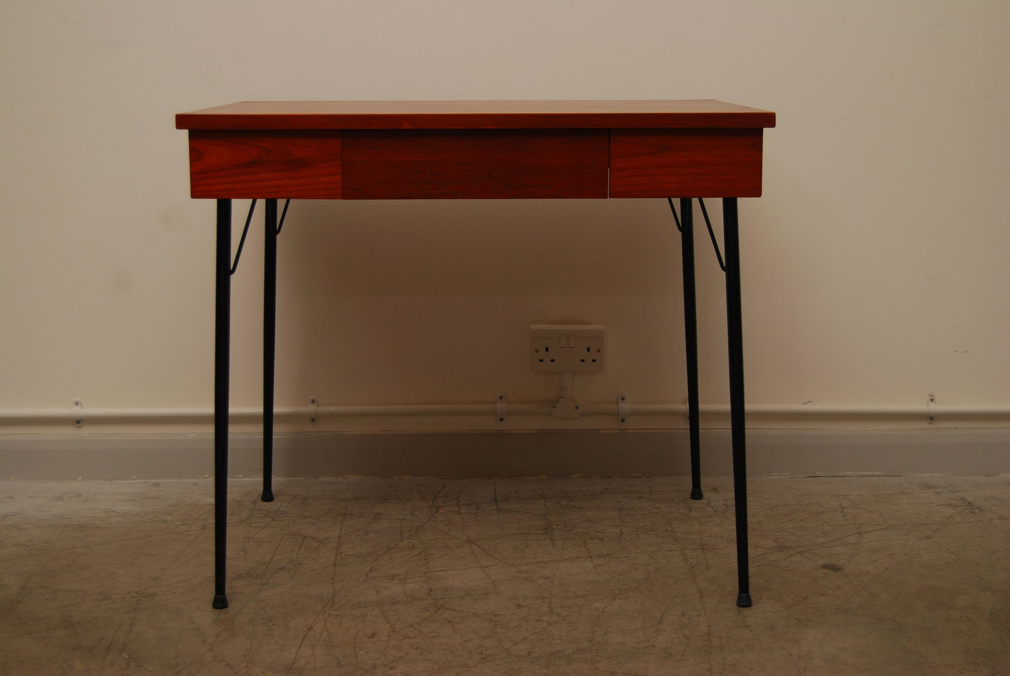 Teak desk on metal legs