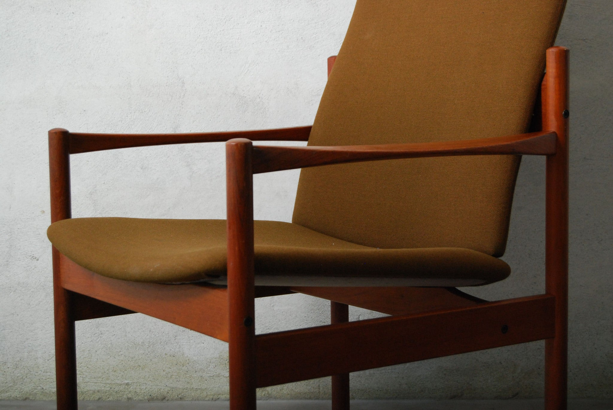 New price: Highback teak and army lounge chair