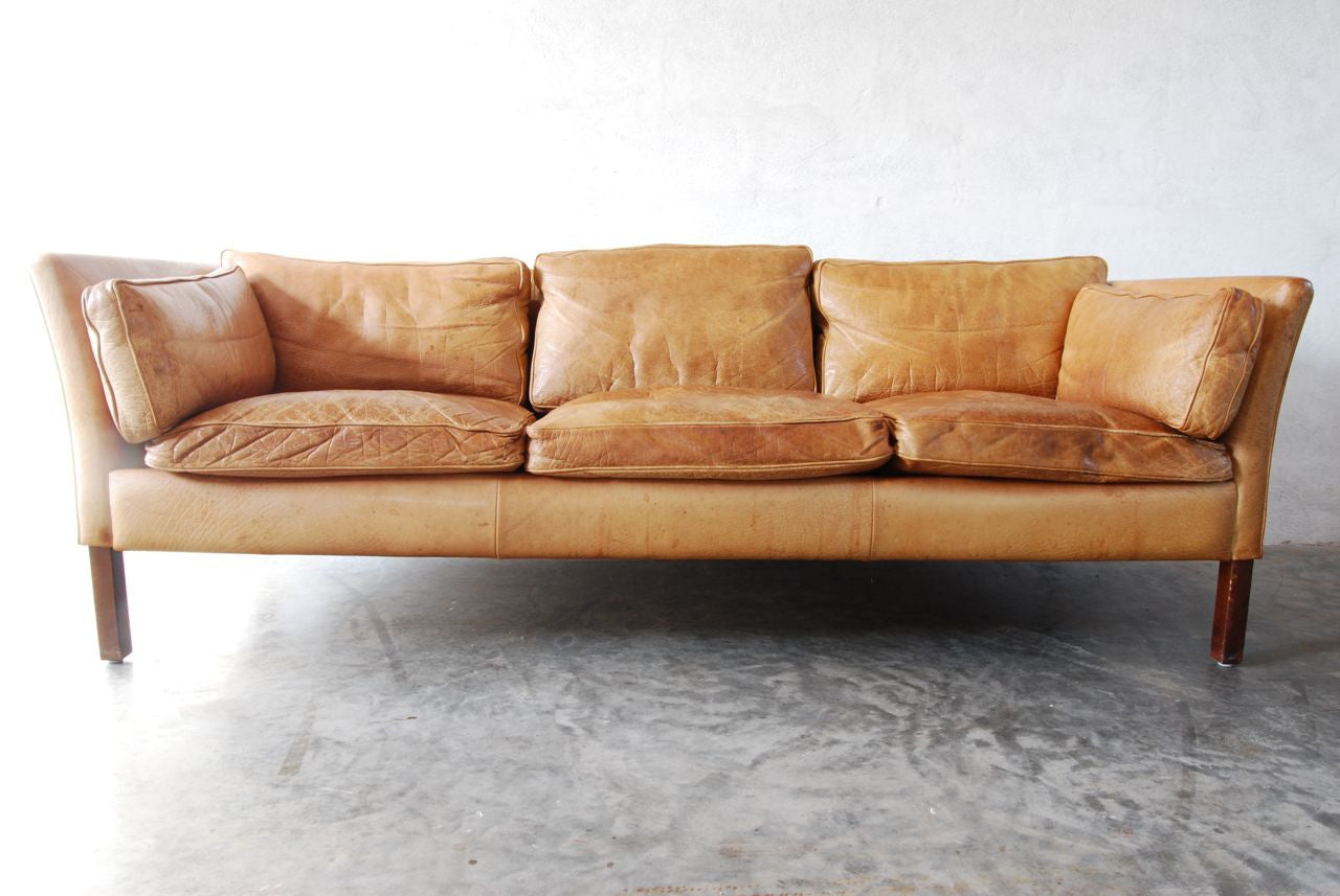 Three seat leather sofa in buffalo leather