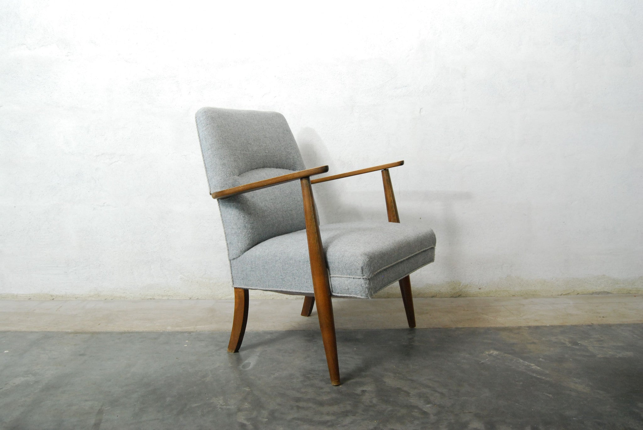 Pair of occasional chairs in beech and gray wool