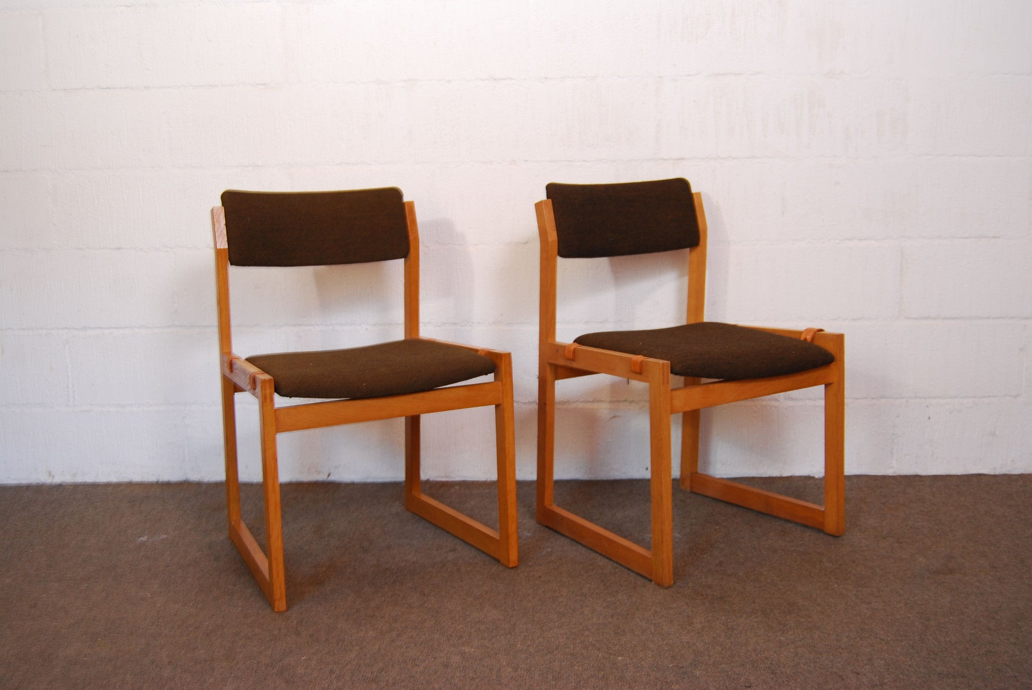 Pair of oak dining chairs by K.S. MÌübler