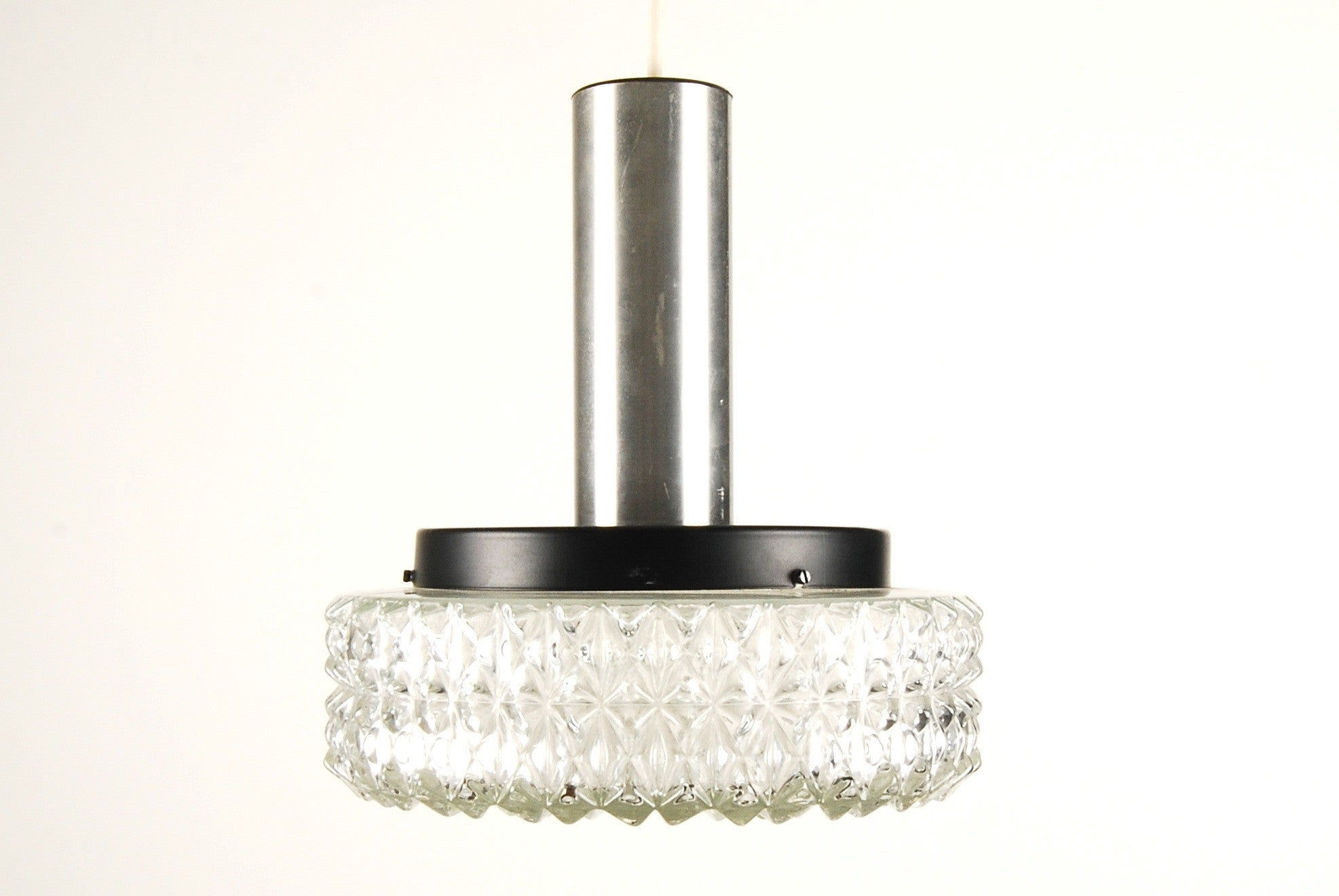 Chrome and glass ceiling lamp